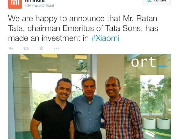 Ratan Tata to invest in Chinese company Xiaomi !!!